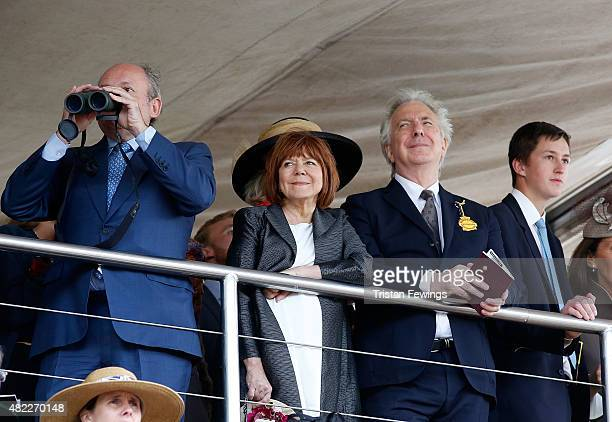 Alan Rickman and wife Rima Horton attend day two of the Qatar Goodwood Festival at Goodwood Racecourse on July 29 2015 in Chichester England