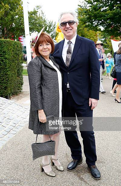 Alan Rickman and wife Rima Horton attend on day two of the Qatar Goodwood Festival at Goodwood Racecourse on July 29, 2015 in Chichester, England.