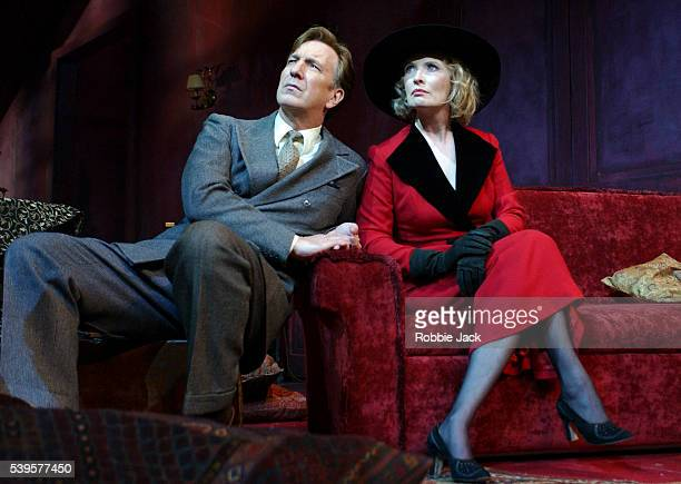Alan Rickman as Elyot and Lindsay Duncan as Amanda in Noel Coward's Private Lives directed by Howard Davies at the Albery Theatre in London