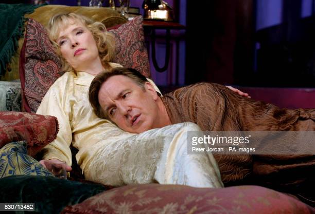 Alan Rickman as'Elyot' and Lindsay Duncan as 'Amanda' at a photocall for Howard Davies's production of Noel Coward's 'Private Lives' which opens for...