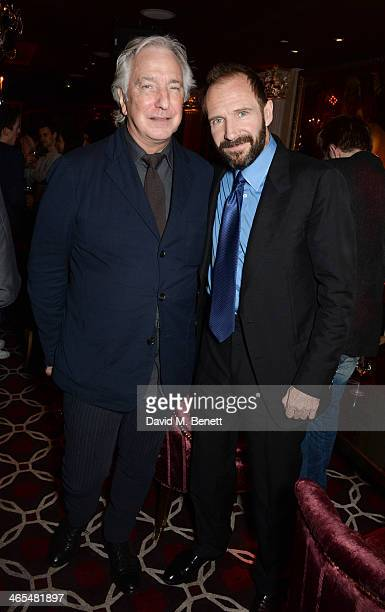 Alan Rickman attends an after party celebrating the UK Premiere of The Invisible Woman at No 41 Mayfair on January 27 2014 in London England