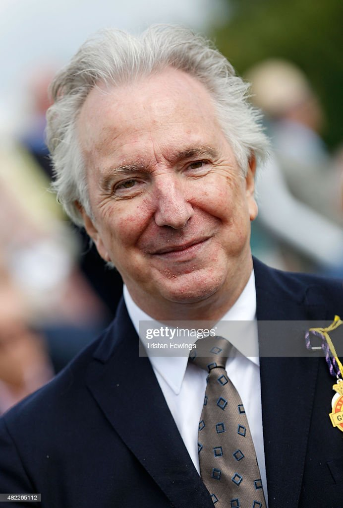 Alan Rickman attends on day two of the Qatar Goodwood Festival at Goodwood Racecourse on July 29, 2015 in Chichester, England.