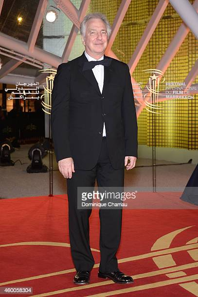 Alan Rickman attends the Evening Tribute To Jeremy Irons as part of the 14th Marrakech International Film Festival on December 6 2014 in Marrakech...