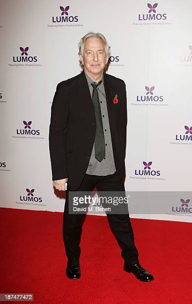 Alan Rickman attends the Lumos fundraising event hosted by JK Rowling at The Warner Bros Harry Potter Tour on November 9 2013 in London England