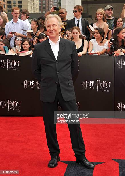 Alan Rickman attends the New York premiere of Harry Potter And The Deathly Hallows Part 2 at Avery Fisher Hall Lincoln Center on July 11 2011 in New...