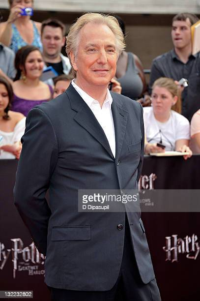 Alan Rickman attends the premiere of 'Harry Potter and the Deathly Hallows Part 2' at Avery Fisher Hall Lincoln Center on July 11 2011 in New York...