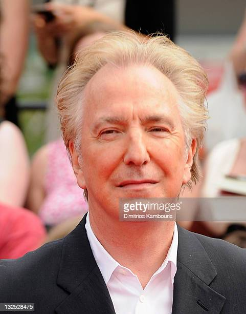 Alan Rickman attends the premiere of ''Harry Potter and the Deathly Hallows Part 2'' at Avery Fisher Hall Lincoln Center on July 11 2011 in New York...