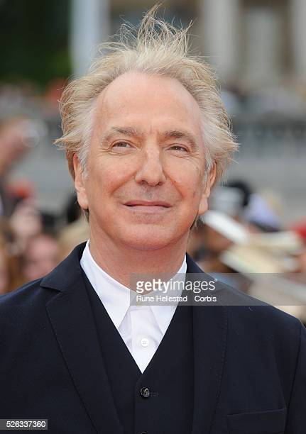 Alan Rickman attends the premiere of 'Harry Potter And The Deathly Hallows Part 2' at Trafalgar Square