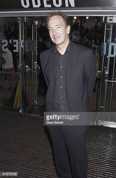 Alan Rickman attends the UK Premiere of 'Harry Potter and the Chamber of Secrets' at The Odeon Cinema Leicester Square on November 3 2002 in London