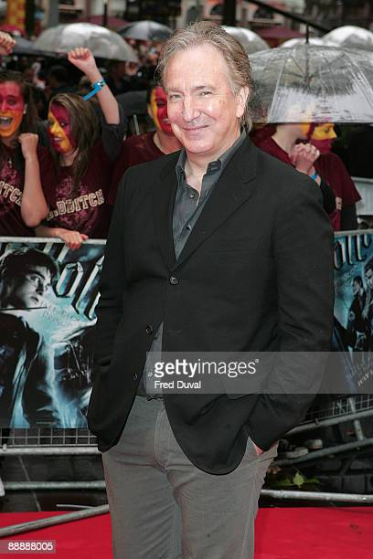 Alan Rickman attends the UK Premiere of Harry Potter and the HalfBlood Prince at Odeon Leicester Square on July 7 2009 in London England