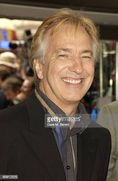 Alan Rickman attends the UK Premiere of 'Harry Potter And The Prisoner Of Azkaban' at the Odeon Leicester Square on May 30 2004 in London The film is...