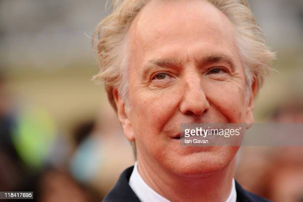 Alan Rickman attends the World Premiere of Harry Potter and The Deathly Hallows Part 2 at Trafalgar Square on July 7 2011 in London England