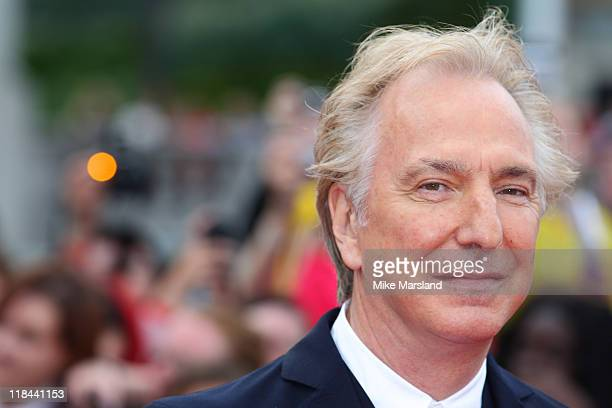Alan Rickman attends the world premiere of 'Harry Potter And The Deathly Hallows Part 2' at Trafalgar Square on July 7 2011 in London England