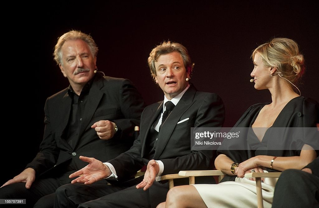 Alan Rickman, Colin Firth and Cameron Diaz attend Meet The Film Makers: Gambit at the Apple Store, Regent Street on November 7, 2012 in London, England.