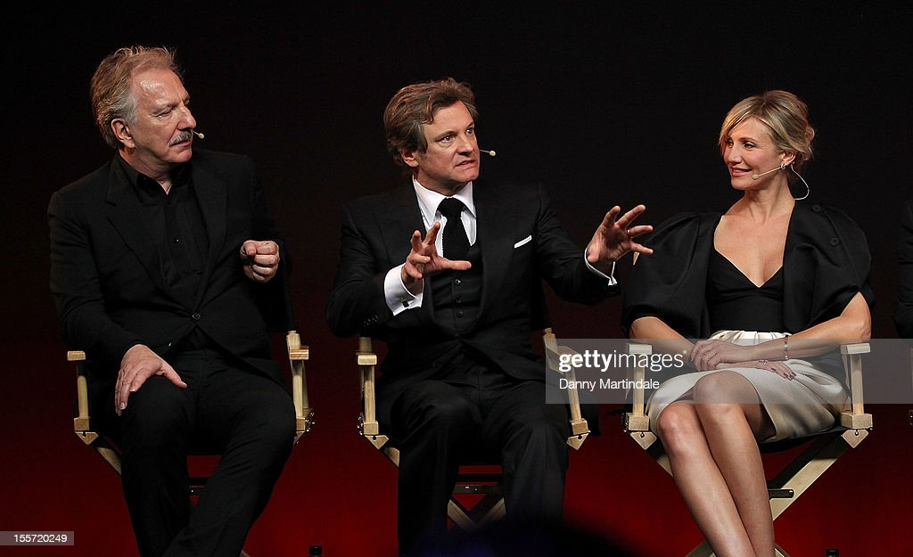 Alan Rickman, Colin Firth and Cameron Diaz attend the Meet The Filmmakers event for Gambit at Apple Store, Regent Street on November 7, 2012 in London, England.