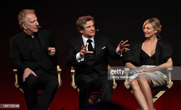 Alan Rickman Colin Firth and Cameron Diaz attend the Meet The Filmmakers event for Gambit at Apple Store Regent Street on November 7 2012 in London...
