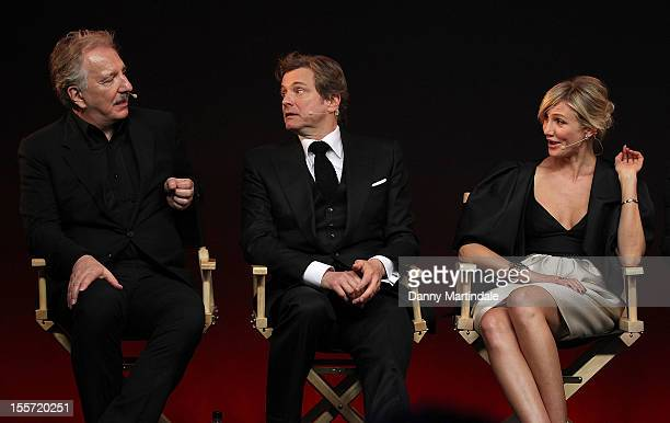 Alan Rickman, Colin Firth and Cameron Diaz attend the Meet The Filmmakers event for Gambit at Apple Store, Regent Street on November 7, 2012 in...