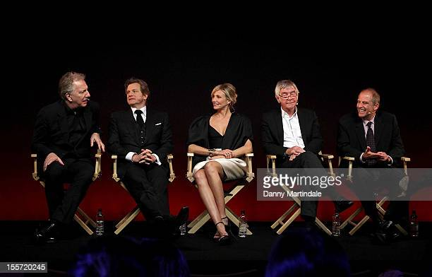 Alan Rickman, Colin Firth, Cameron Diaz, Sir Tom Courtenay and director Michael Hoffman attend the Meet The Filmmakers event for Gambit at Apple...