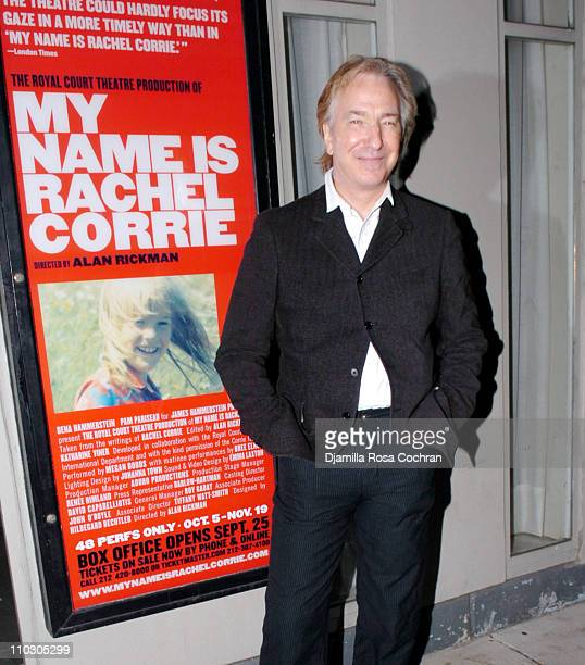 Alan Rickman during Opening Night of My Name is Rachel Corrie Arrivals at The Minetta Lane Theatre in New York City New York United States