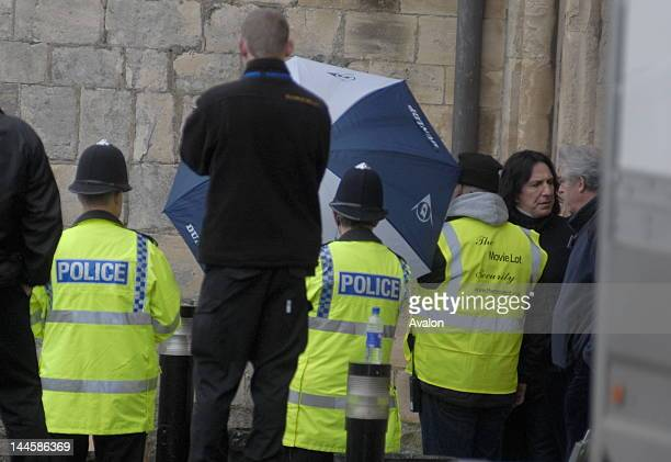 Alan Rickman on set of the final Harry Potter film ' Harry Potter and the HalfBlood Prince' at Gloucester Cathedral 7th February 2008 38625