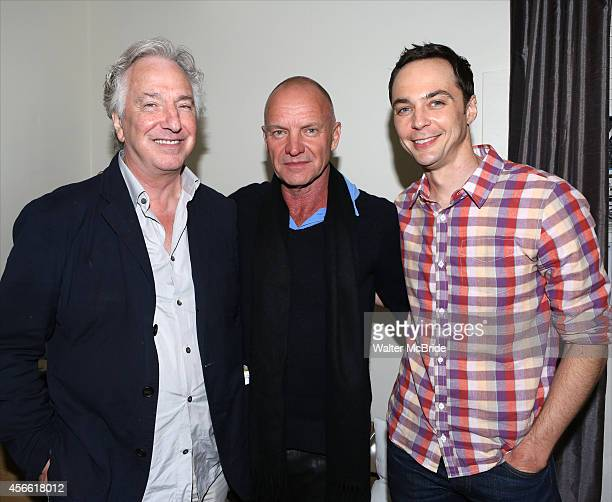 Alan Rickman Sting and Jim Parsons backstage after a preview performance of 'The Last Ship' at the Neil Simon Theatre on October 3 2014 in New York...