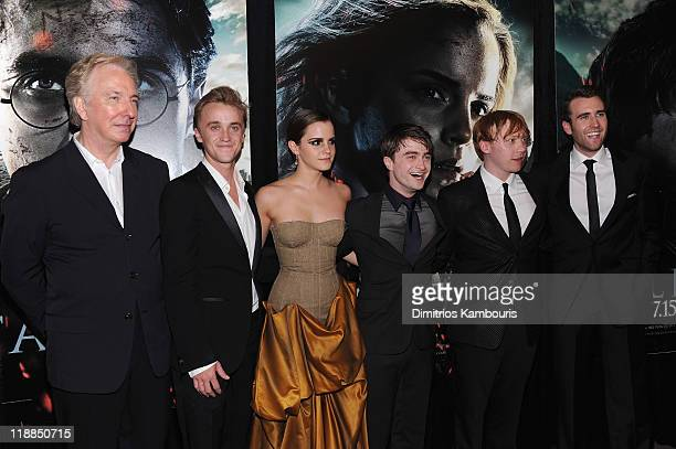 Alan Rickman Tom Felton Emma Watson Daniel Radcliffe Rupert Grint and Matthew Lewis attend the premiere of Harry Potter and the Deathly Hallows Part...