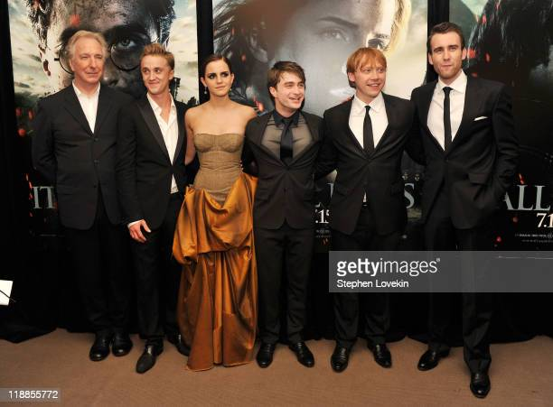 Alan Rickman Tom Felton Emma Watson Daniel Radcliffe Rupert Grint and Matthew Lewis attend the New York premiere of 'Harry Potter And The Deathly...
