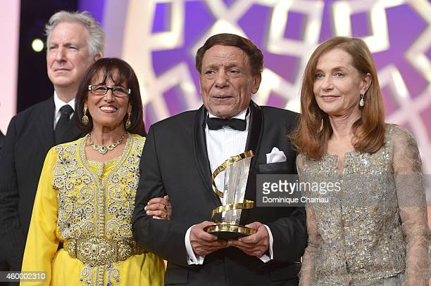 Alan Rickman Touria Jabrane Adel Emam and Isabelle Huppert at the 14th Marrakech International Film Festival Opening Ceremony on December 5 2014 in...
