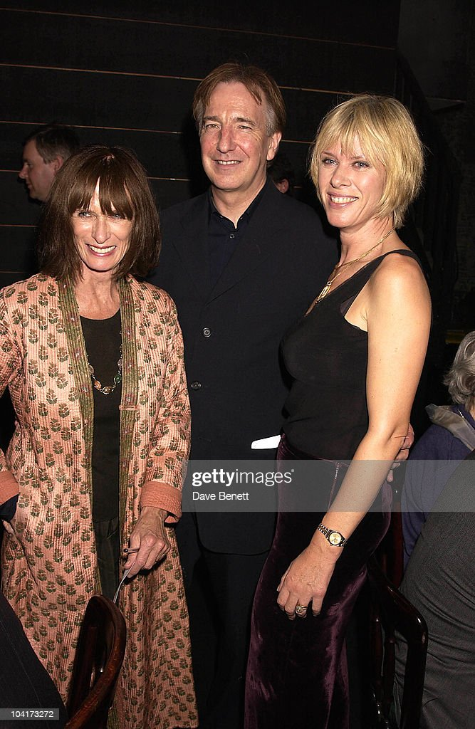 Alan Rickman With Producer Norma Haymen And Nette Mason, Gala Evening In Aid Of The Almeida Theatre At Their Kings Cross Location For The Last Time Before They Have To Move Again,a Performance Of Shakespeare's King Lear.then Followed By A Dinner For A Select Few