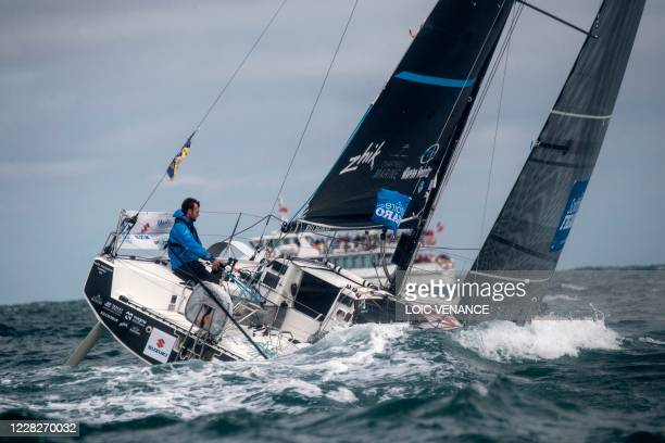 Alan Roberts, Seacat Services 42, competes during the first stage of the 51st edition of La Solitaire du Figaro solo sailing race on August 30 off...