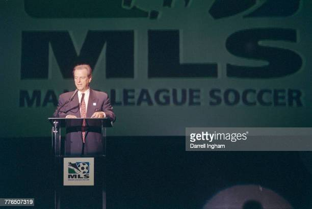 Alan Rothenberg chairman of Major League Soccer and president of United States Soccer announces the teams that will open its inaugural season in 1996...
