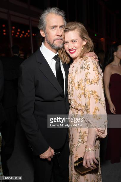 Alan Ruck and Mireille Enos attend the 2019 Vanity Fair Oscar Party hosted by Radhika Jones at Wallis Annenberg Center for the Performing Arts on...