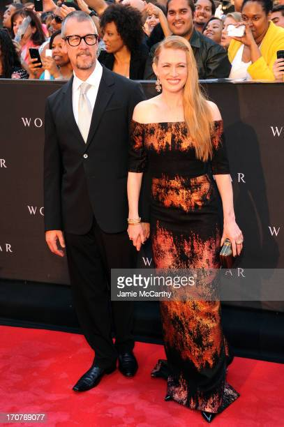 Alan Ruck and Mireille Enos attend the 'World War Z' New York Premiere at Duffy Square in Times Square on June 17 2013 in New York City