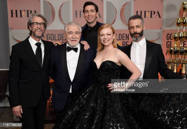 "Alan Ruck, Brian Cox, Nicholas Braun, Sarah Snook, and Jeremy Strong, winners of the award for BEST TELEVISION SERIES - DRAMA for ""Succession"", pose..."
