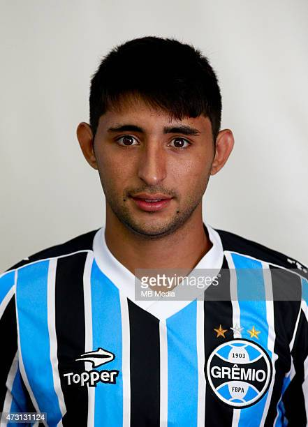 Alan Ruiz of Gremio FootBall Porto Alegrense poses during a portrait session on August 14 2014 in Porto AlegreBrazil