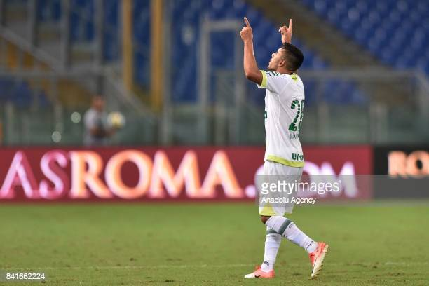 Alan Ruschel of Chapecoense celebrates after scoring a goal during the friendly soccer match between AS Roma and Chapecoense at Stadio Olimpico on...