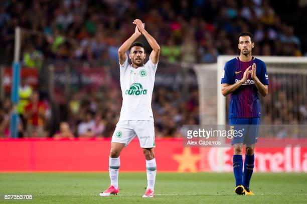 Alan Ruschel of Chapecoense salutes the spectators as he is substituted during the Joan Gamper Trophy match between FC Barcelona and Chapecoense at...