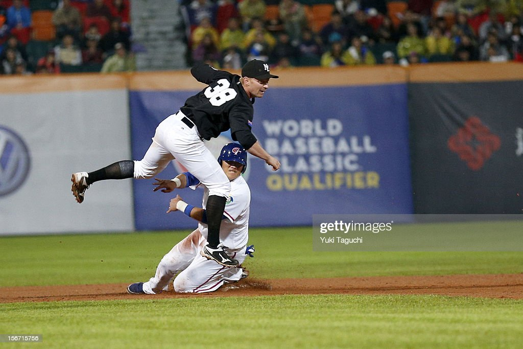Alan Schoenberger #38 of Team New Zealand turns a double play as Yung-Chi Chen #13 of Team Chinese Taipei slides into second base in the bottom of the second inning during Game 6 of the 2013 World Baseball Classic Qualifier between Team New Zealand and Team Chinese Taipei at Xinzhuang Stadium in New Taipei City, Taiwan on Sunday, November 18, 2012.