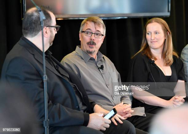 Alan Sepinwall Vince Gilligan and Melissa Bernstein speak onstage during the 'Masterclass With Better Call Saul' Panel at the AMC Summit at Public...