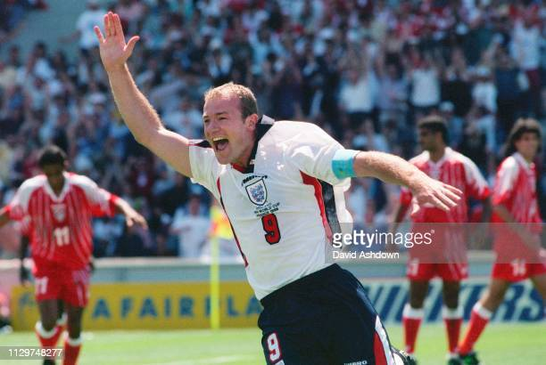 Alan Shearer after scoring the 1st goal during England v Tunisia at the Stade Velodrome Marseille during the FIFA World Cup in France 15th June 1998