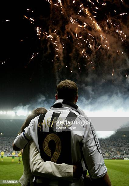 Alan Shearer and daughter Chloe watch the firework display after the Alan Shearer Testimonial Match between Newcastle United and Glasgow Celtic at...