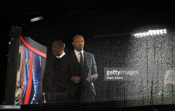 Alan Shearer and Dion Dublin are seen prior to the FA Cup Fourth Round match between Millwall and Everton at The Den on January 26 2019 in London...