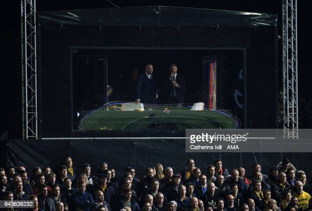 Alan Shearer and Gary Lineker watch from the tv studio during The Emirates FA Cup Fifth Round match between Sutton United and Arsenal on February 20...