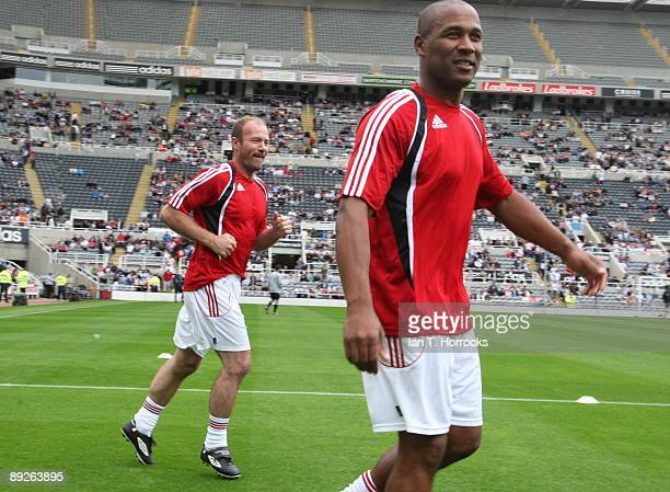 Alan Shearer and Les Ferdinand during a England v Germany charity match in aid of the Bobby Robson Foundation at St James' Park on July 26 2009 in...