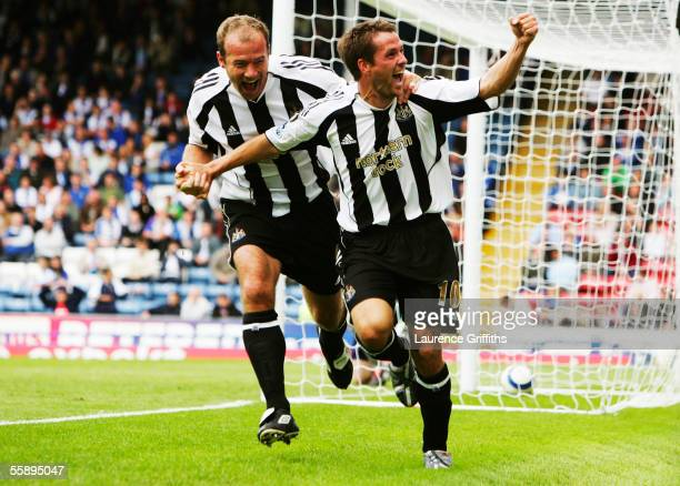 Alan Shearer celebrates Michael Owen's first goal for Newcastle United during the Barclays Premiership match between Blackburn Rovers and Newcastle...