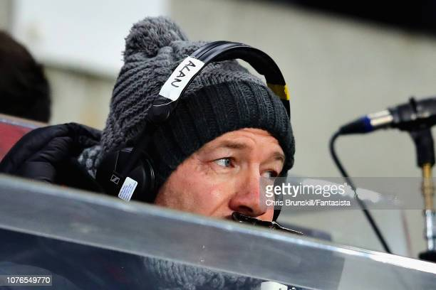 Alan Shearer commentates from the stands before the Premier League match between Newcastle United and Manchester United at St James Park on January 2...