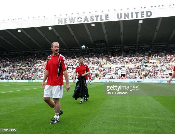 Alan Shearer during the England v Germany charity match in aid of the Bobby Robson Foundation at St James' Park on July 26 2009 in Newcastle England