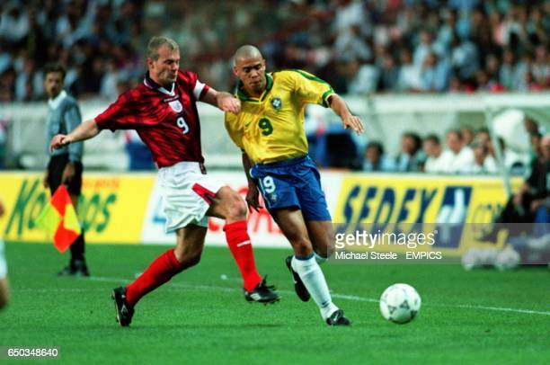 Alan Shearer England {L} and Ronaldo Brazil {R}