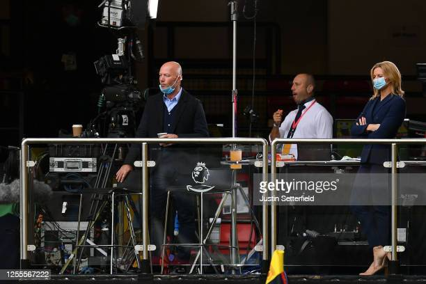 Alan Shearer, Ex-Newcastle United player Alan Shearer looks on from the TV area in the stands prior to the Premier League match between Watford FC...