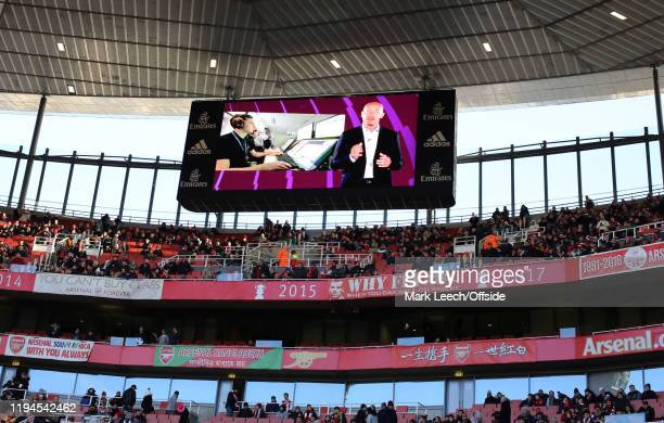 Alan Shearer explains VAR to the fans on the big screen before the Premier League match between Arsenal FC and Sheffield United at Emirates Stadium...